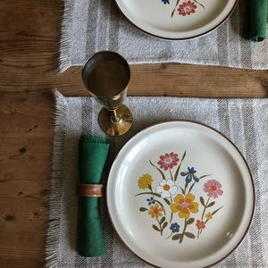 Vintage Dinner for Two Plates, Goblets, Napkins